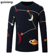 2017 Spring men sweater leisure knit starry sky pattern color Men's fashion wool sweaters large size M-4XL Free shipping