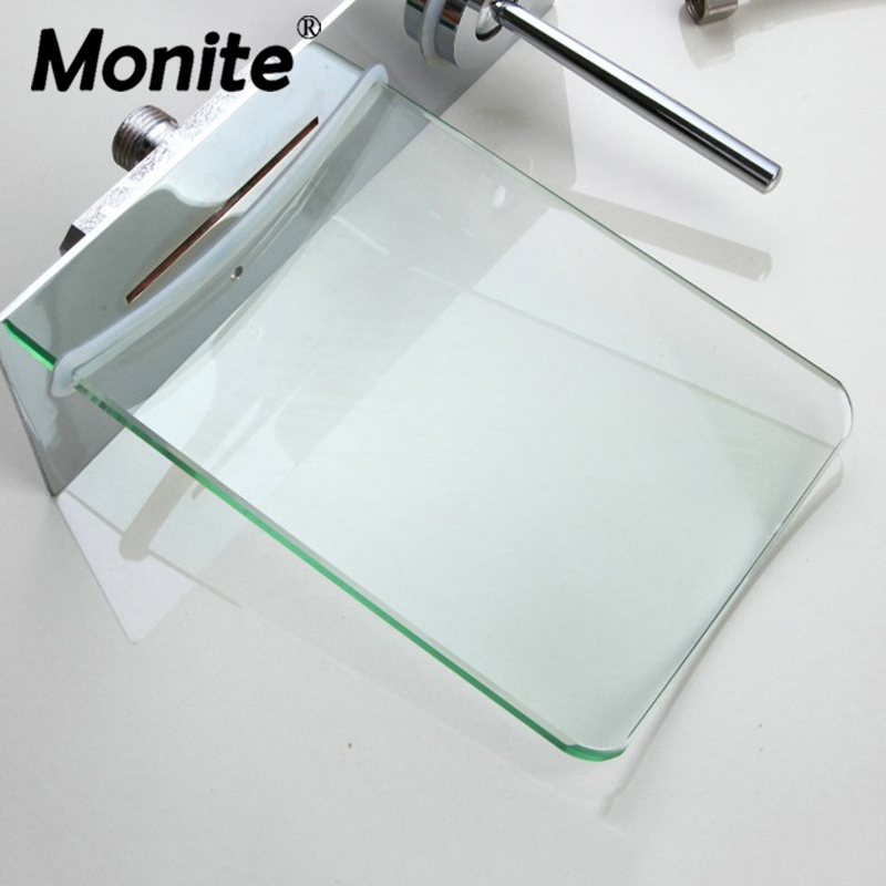 only glass plate wall mounted waterfall glass spout bathroom bathtub faucet spray
