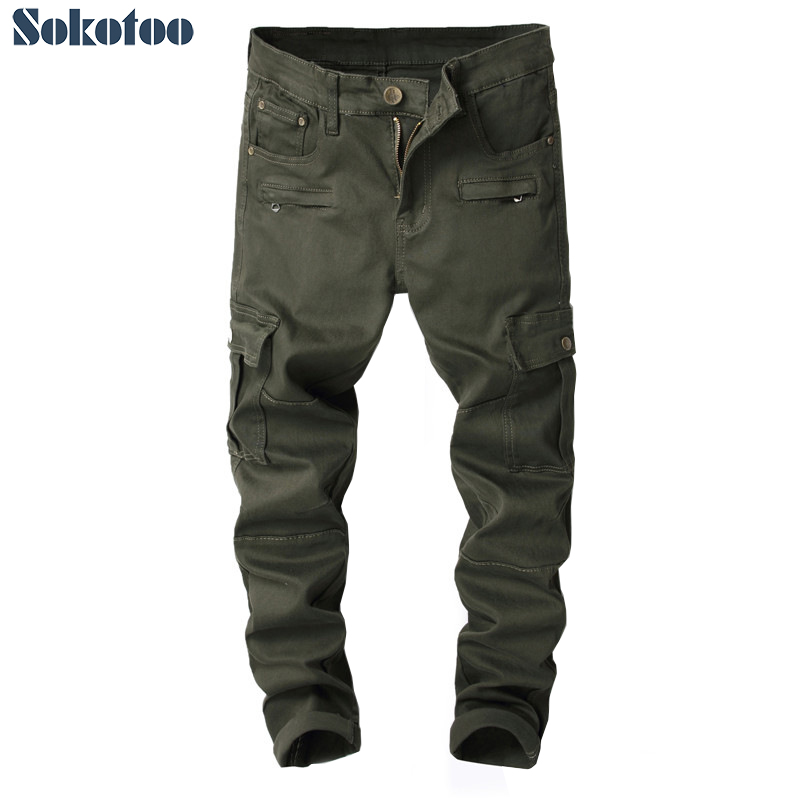Sokotoo Men's Military Army Green Big Pockets Cargo Jeans Slim Straight Stretch Denim Pants