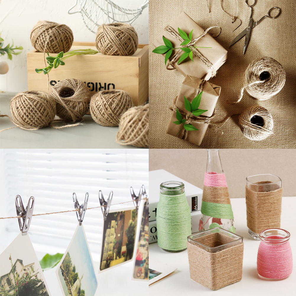 Jute twine 50m roll 2mm rustic wedding decorationwrap diy gift packing string natural burlap Home decoration with jute
