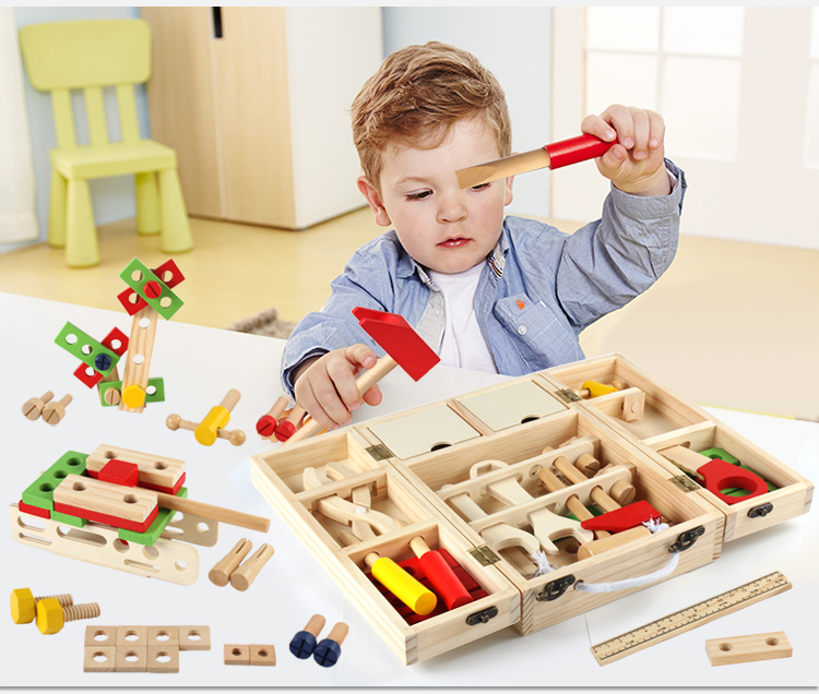 Children Wooden Maintain Tools Suitcase Kit Pretend Toy Baby Wooden Screws Assemble Creative 3D Puzzle Educational