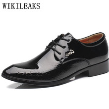Oxford-Shoes Dress Crocodile Zapatillas Social Mens Italian Patent Leather Black Hombre