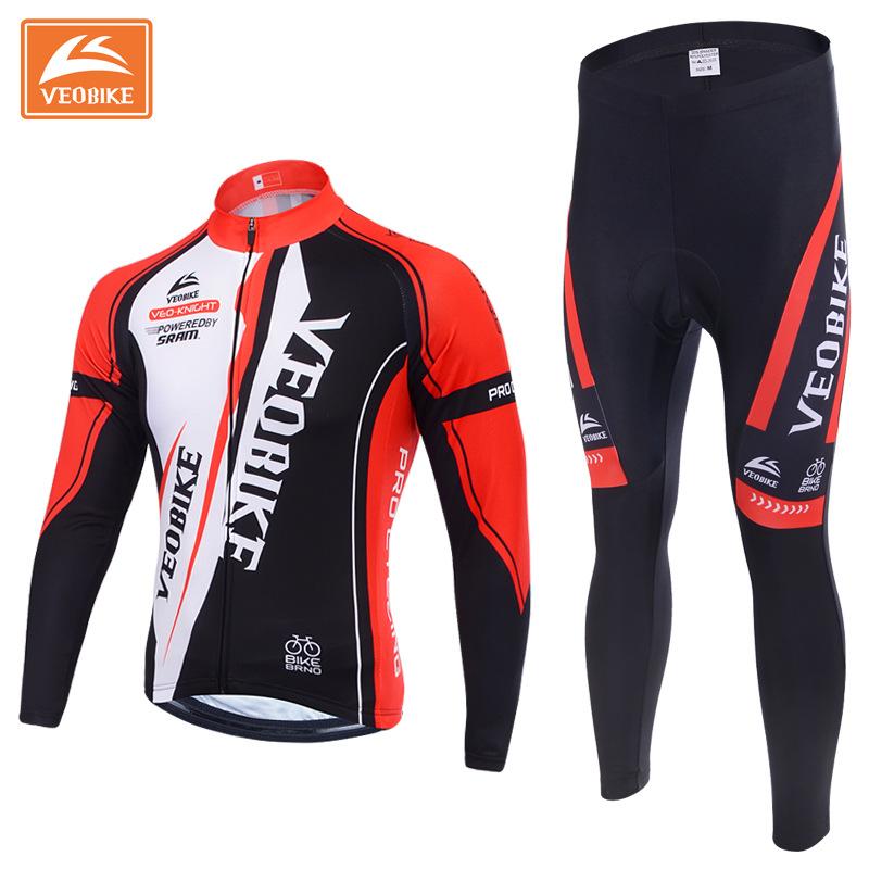 Prix pour Veobike hiver thermique marque pro cycling team maillot à manches longues vélo vélo vêtements pantalones ropa ciclismo invierno