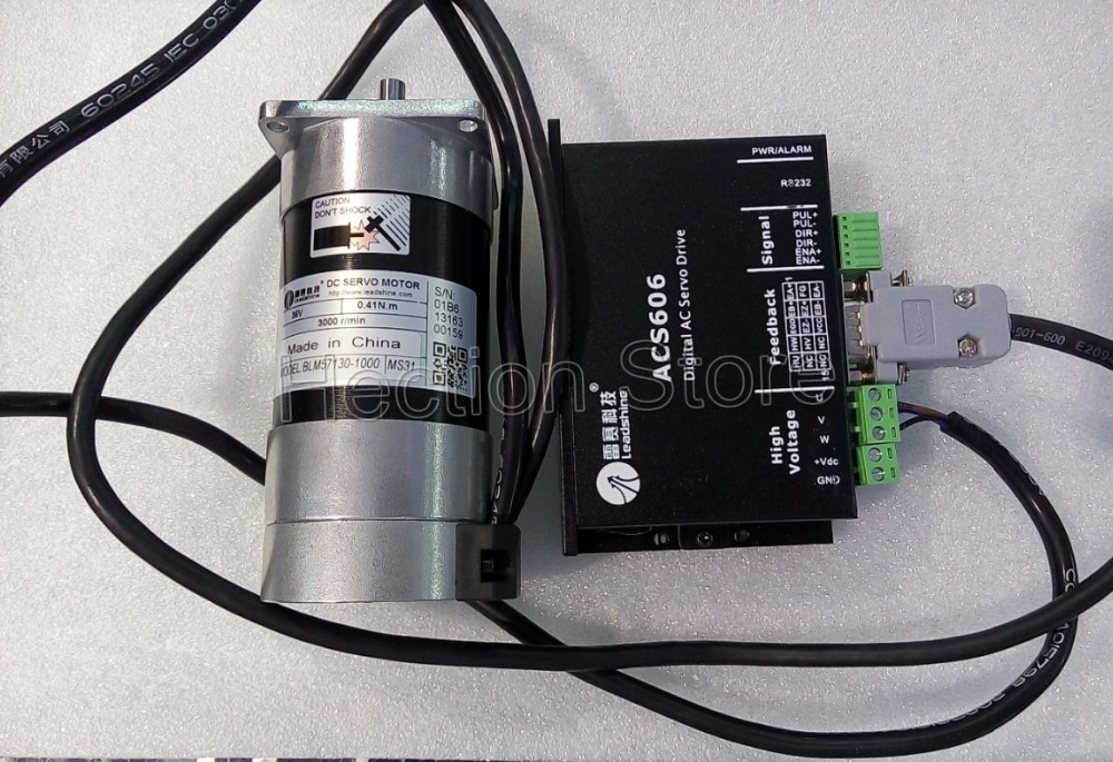 130W New Leadshine Servo driver ACS606+servo motors BLM57130-1000 output Current 5.0A to 16A Runing 3000RPM have 0.41NM Torque new original leadshine 130w brushless servo motor blm57130 1000 36v dc motor 5 3a 0 41nm 3000rpm
