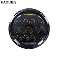 FADUIES Motorcycle Black Chrome Halo Angel Eye DRL Led Headlamp For Harley Davidsion Softail Slim Fat