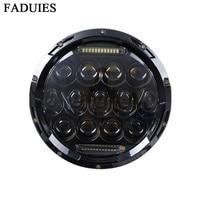 FADUIES Motorcycle Black/Chrome Halo Angel Eye DRL Led Headlamp for Harley Davidsion Softail Slim Fat Boy 7 Inch H4 headlamp