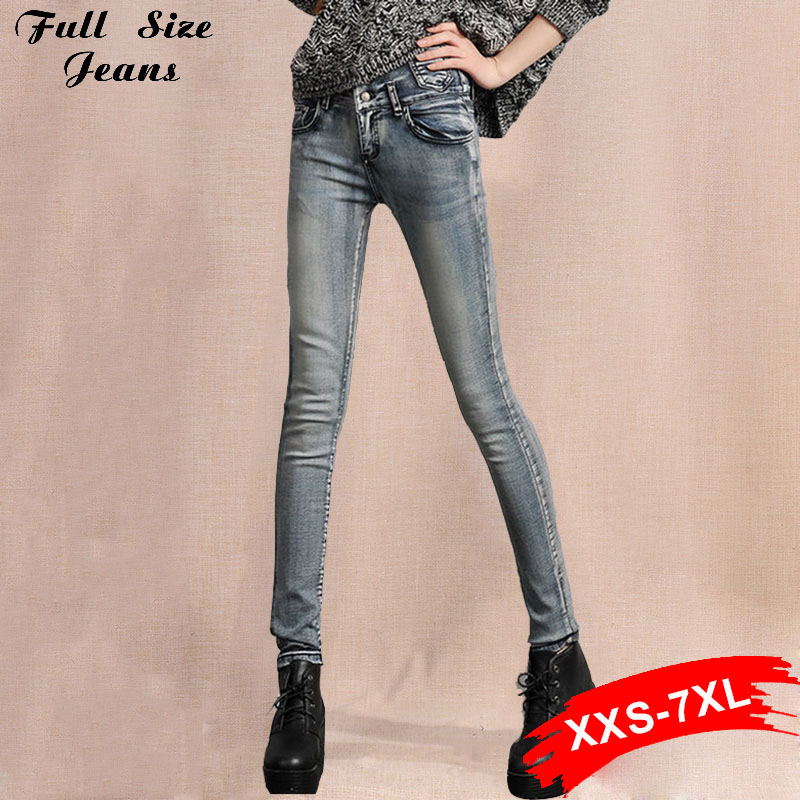 ФОТО Plus Size Clothing Buttons High Waist Jeans Woman Stretch Slim Classic Grey Snow Long Trousers Skinny Pencil Pants Xxxl 6Xl 5Xl