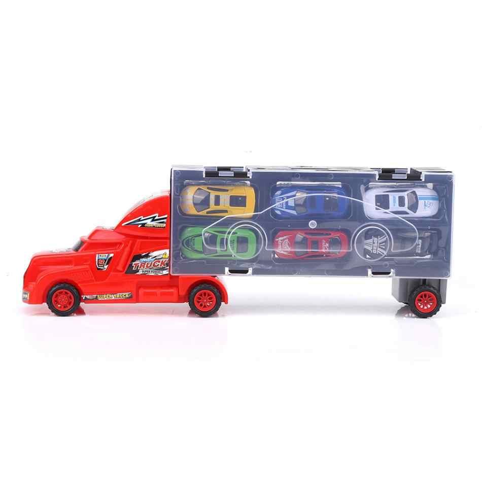 Транспортный автомобиль перевозчик грузовик игрушка для мальчиков портативный пластиковый пакет грузовик модель + 12 сплав автомобиль игрушки Мальчики Дети Рождественские подарки