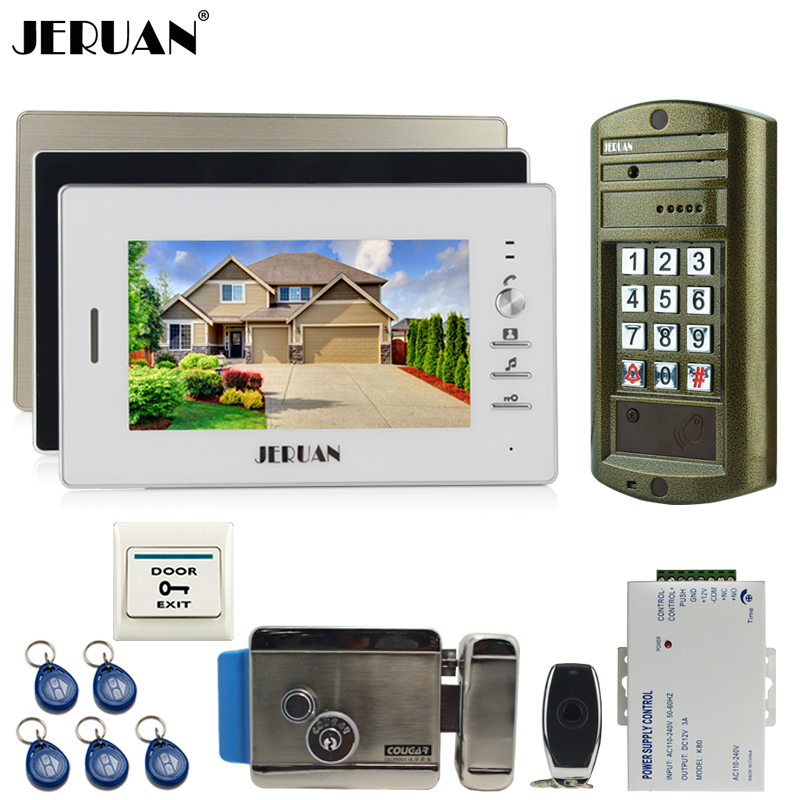 JERUAN NEW Metal waterproof password keypad HD IR Mini Camera + 7 inch LCD Video Door phone Intercom System kit 3 Monitor+E-lock jeruan 8 inch tft video door phone record intercom system new rfid waterproof touch key password keypad camera 8g sd card e lock