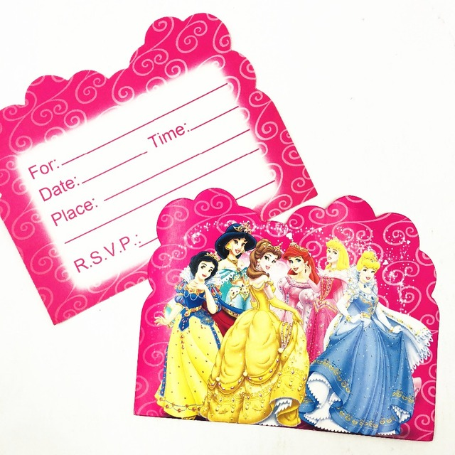 10pcs Royal Princess Jasmine Themed Birthday Party Invitations Partyware Baby Shower Decoration Ideas Invitation Card