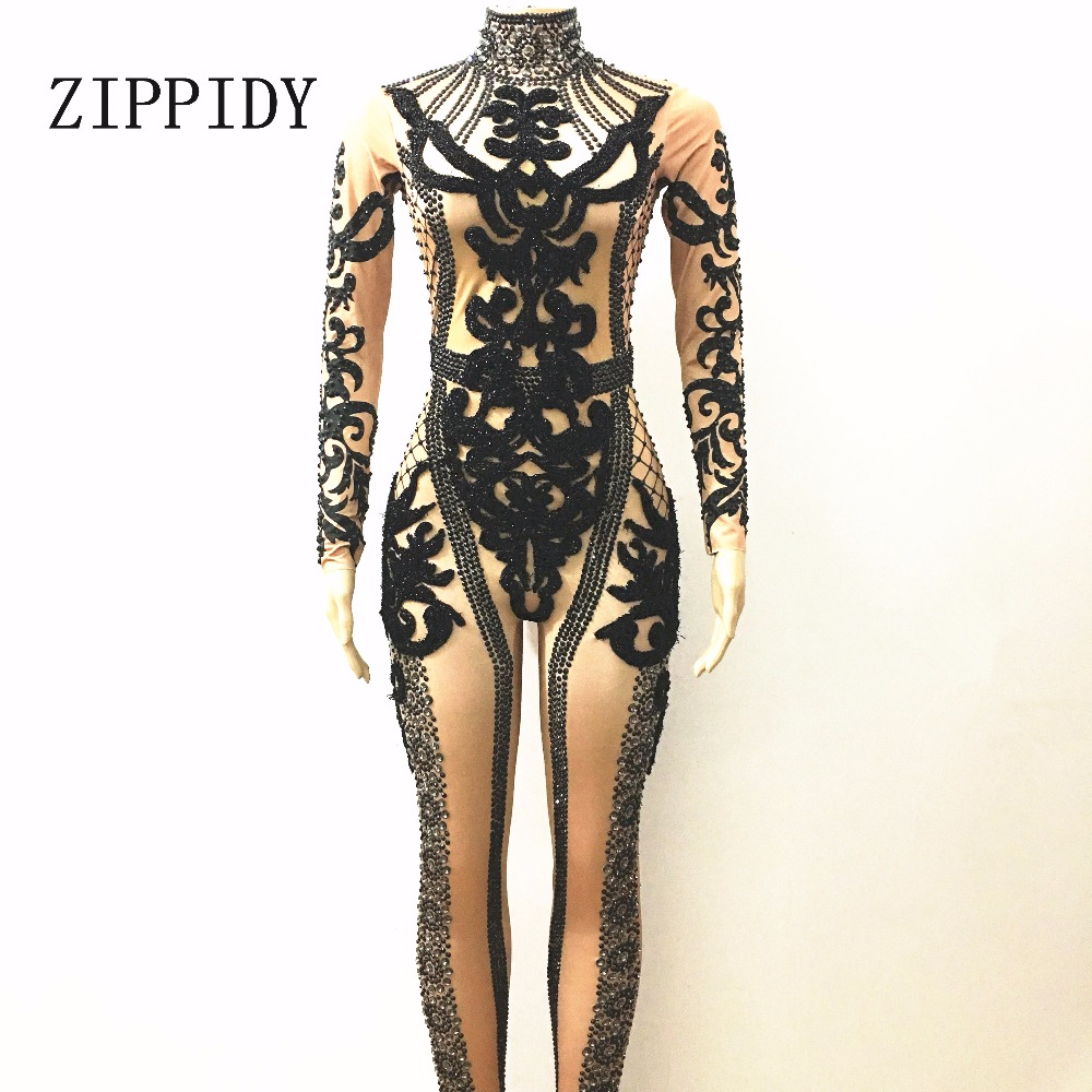 Shining Black Crystals Jumpsuit Nigthclub Performance Outfit Party Celebrate Glisten Rhinestones Costume Bodysuit Stage Rompers