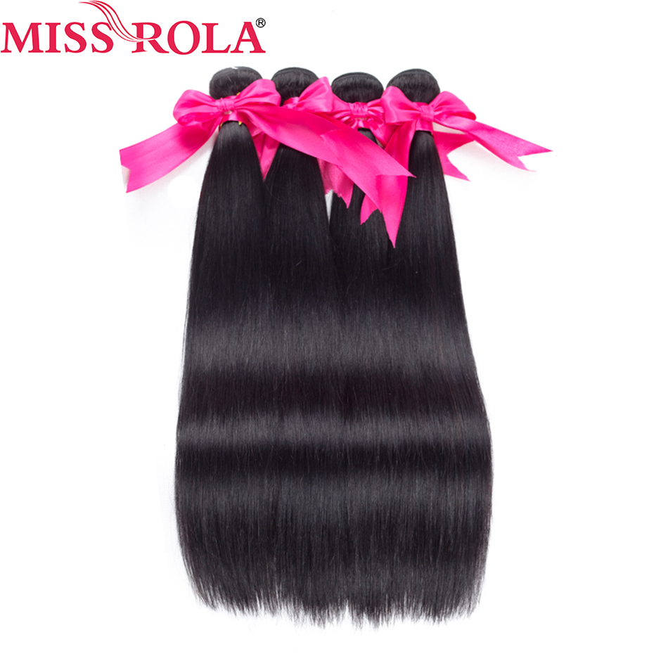 Frøken Rola Hair 100% Human Hair Bundle Malaysisk Straight Hair - Menneskelig hår (for svart)