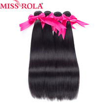 Miss Rola Hair 100% Human Hair bundle Malaysian Straight Hair Weave 4 Bundles Non Remy Natural Color 8-26 Inches Hair Extensions platinum natural color 12 inches