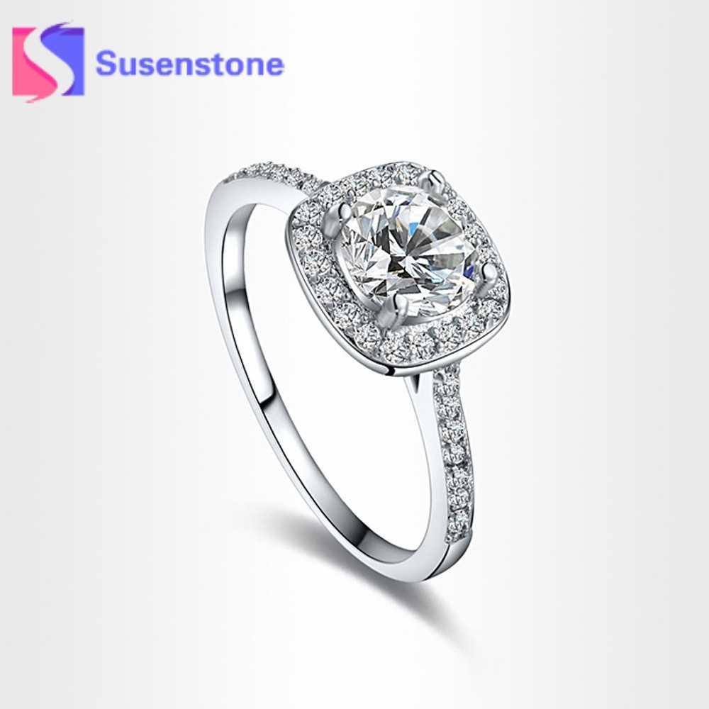 Лидер продаж Элегантные кольца для Для женщин принцессы Обручение Свадебные  украшения женские серебряные 16703a0c55bd8