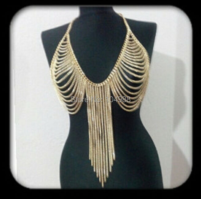 NEW ARRIVALS STYLE B504 WOMEN FASHION GOLD PLATED CHAINS JEWELRY MULTI LAYERS BODY CHAINS JEWELRY 3