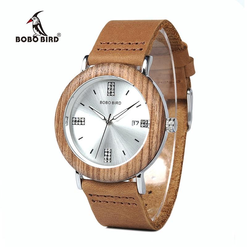 BOBO BIRD WO28 2017 Newest Ladies Wooden Watch Calendar Date Gems Imitate Diamond Fashion Quartz Watches For Women Wood Box XFCS