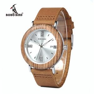 Image 1 - BOBO VOGEL Neueste Damen Holz Uhr Kalender Datum Edelsteine Imitieren Diamant Mode Quarz Uhren für Frauen Holz Box