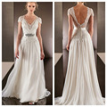 Vestidos De Noiva 2015 Vestidos De Noiva Sexy com decote em V Chiffon Backless vestido De casamento até o chão trem da varredura vestido De Noiva do Vintage