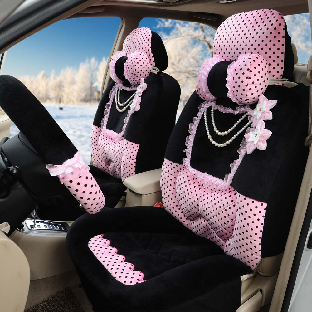 universal hiver chaud housse de si ge de voiture rose noir souple en peluche 10 pcs femmes de. Black Bedroom Furniture Sets. Home Design Ideas