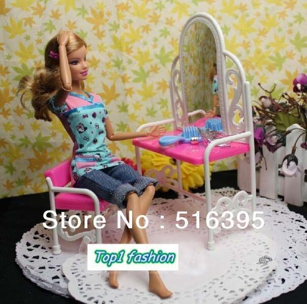 Livraison gratuite vente chaude filles cadeau d'anniversaire cadeau coiffeuse / accessoire pour poupée Barbie