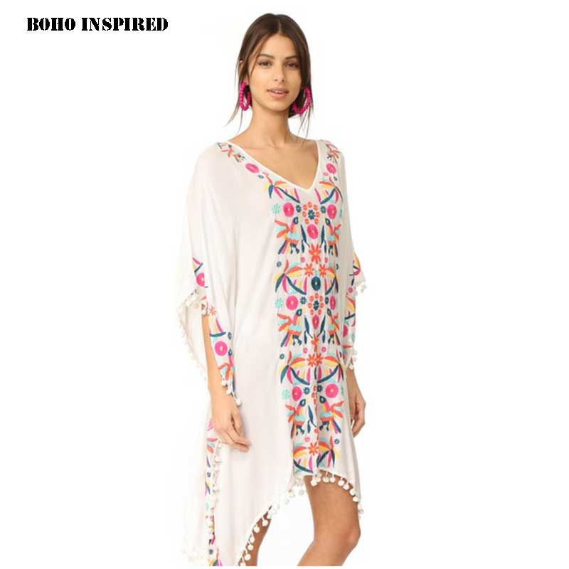 Boho inspired embroidered white caftan beach dress pom