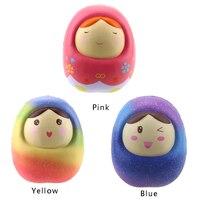 Jumbo Kawaii Rainbow Matryoshka Squishy Cartoon Russian Doll Slow Rising Phone Straps DIY Decor Squeeze Bread
