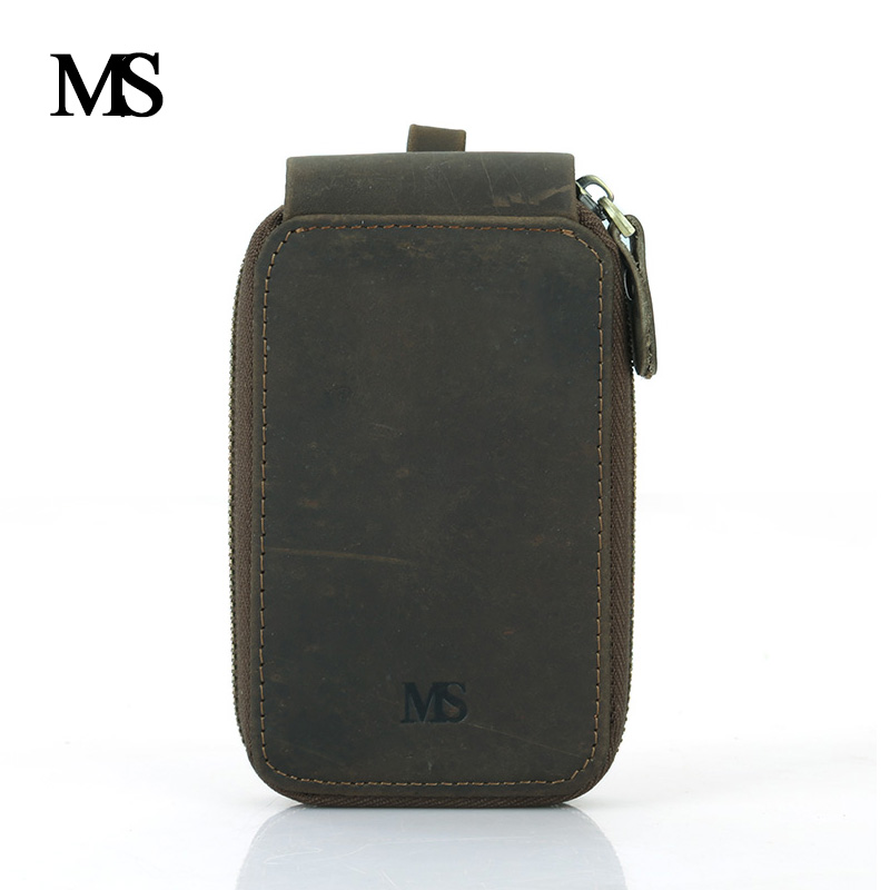 MS 2018 New Genuine Leather Men Car Key Holder Women Multifunction Key Wallets Housekeeper Key Bag Purse with Card Holder TW2905 in Key Wallets from Luggage Bags