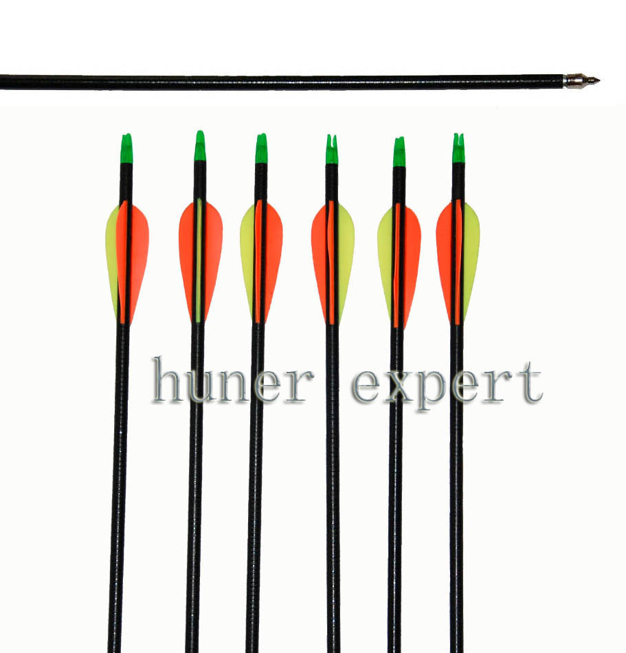 100pcs Archery Arrow hunter Arrows Fiberglass Target Practice 32 w Nocks plastic DIY feathers Fletched w w archery sfokit26