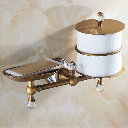 Luxury Antique Br Bathroom And Marble Wall Mount Toilet Paper Holder Storage Shelf