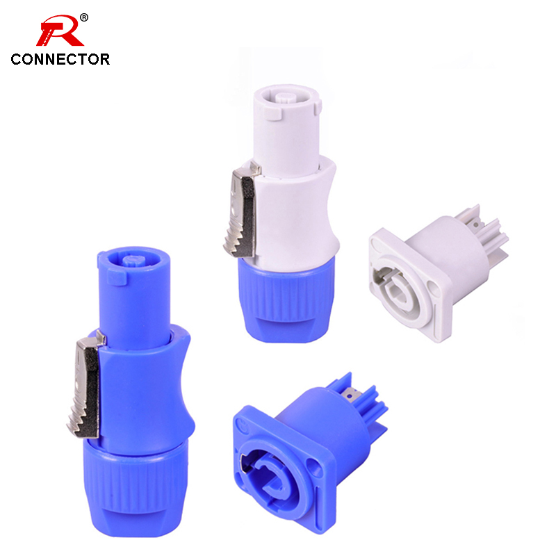 25Sets Power Connector, 3pins, NAC3FCA+NAC3MPA-1(Power-in) & NAC3FCB+NAC3MPB-1(Power-out),Male Plug + Chassis Panel, 20A 250V