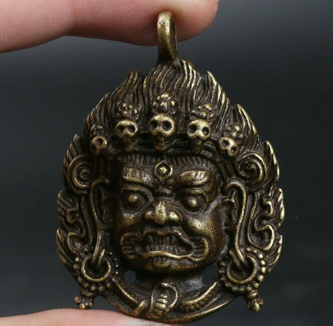 Chinese Bronze Tantra Mahakala Wrathful Deity Amulet Pendant Buddha Head Pendant Exorcise Evil Spirits Statue Auspicious Amulet