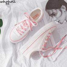 WHOHOLL Women White Canvas Shoes Female Casual Flat Shoes Pink Blue Lace Up Sneakers Fashion Vulcanized Shoes Tenis Feminino стоимость