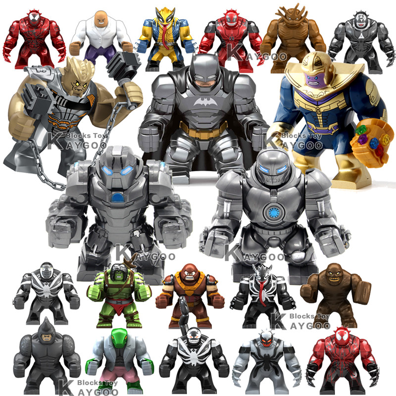 Marvel Super Heroes Avengers Infinity War Cull Iron Monger Spiderman Venom Riot Thanos Model Building Block Set toys Big figures avengers lego