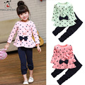 Autumn Winter Cute Children Clothing Sets Long Sleeve Heart Print Dress Top And Long Pants 2 Piece Bowknot Baby Girl Clothes Set