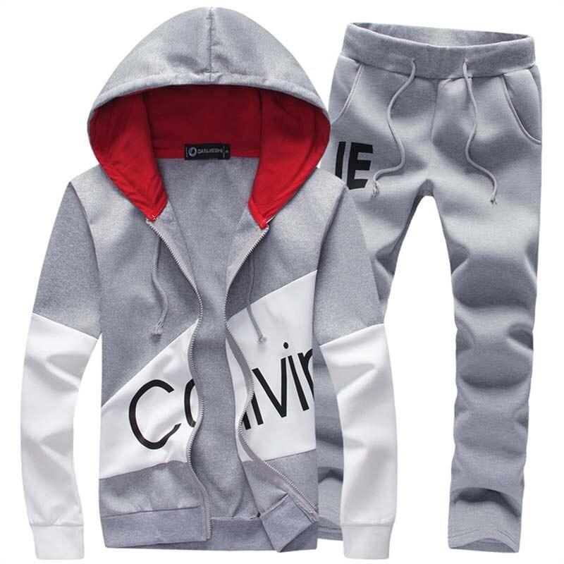 Fashion Men Two Pieces Sets Casual Tracksuit Male 2018 Sweatshirt+Pants Suits Men Plus Size 5XL Hoodies Set Sweatshirts