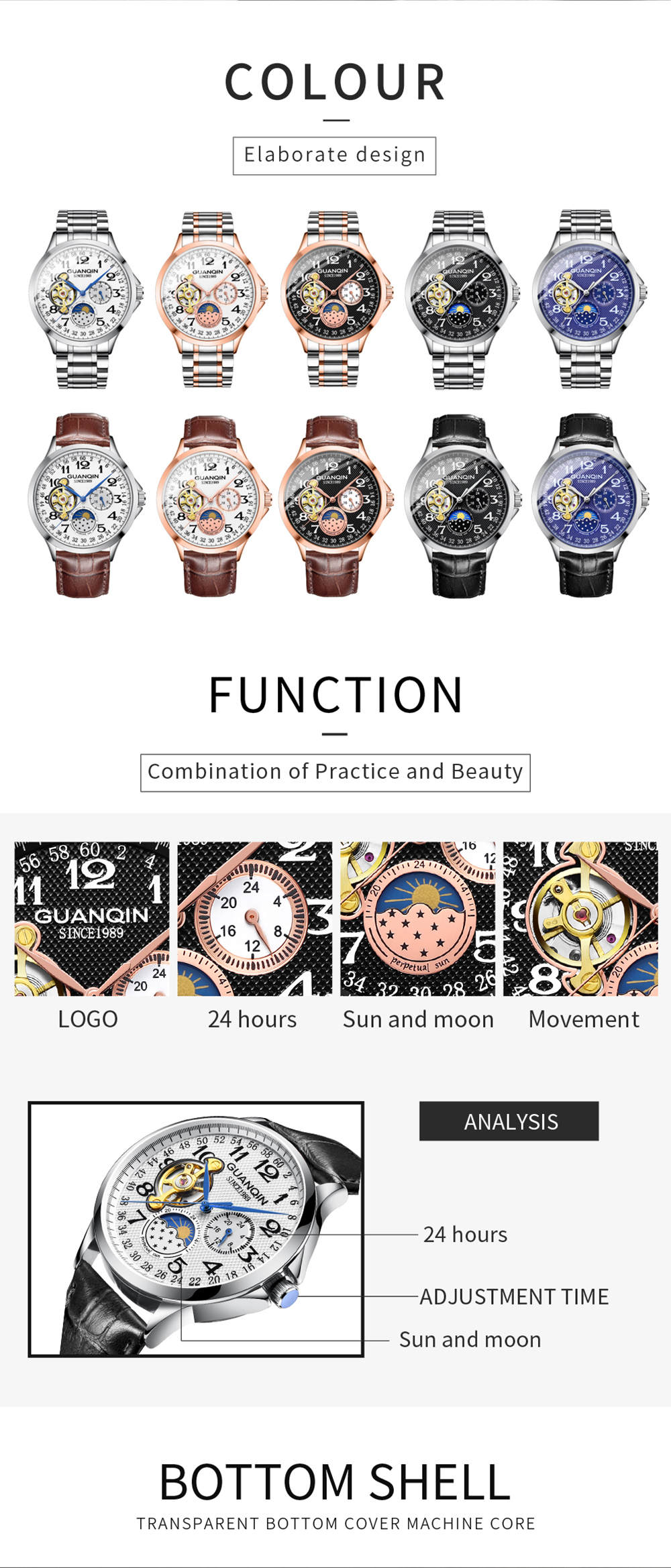 HTB1O7qtalWD3KVjSZKPq6yp7FXaM 2019 Fashion GUANQIN Mens Watches Top Brand Luxury Skeleton Watch Men Sport Leather Tourbillon Automatic Mechanical Wristwatch