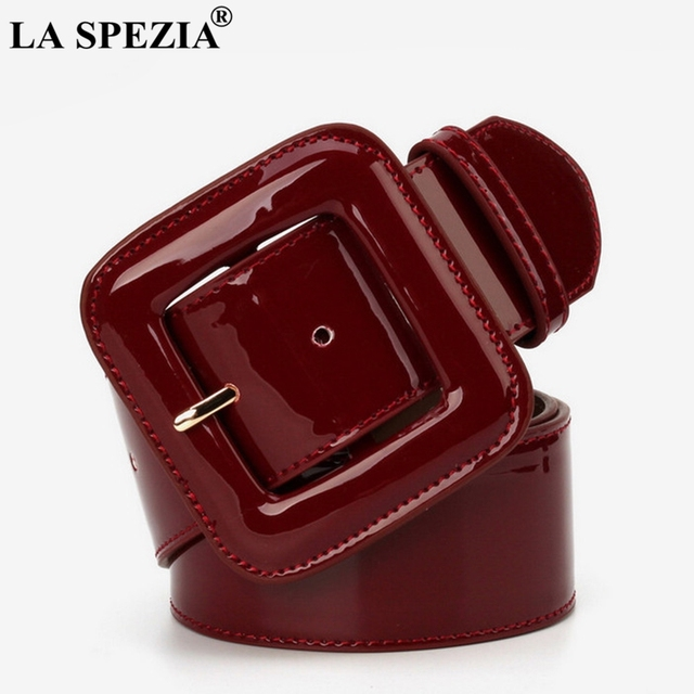 LA SPEZIA Wide Ladies Belts Black Patent Leather Belt Women Genuine Leather Cowhide Fashion Big Buckle Square Belt For Dresses 1