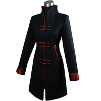 High Fashion Black Chinese Female Long Overcoat Winter Cashmere Jacket Coat Formal Tang Suit Dropshipping S