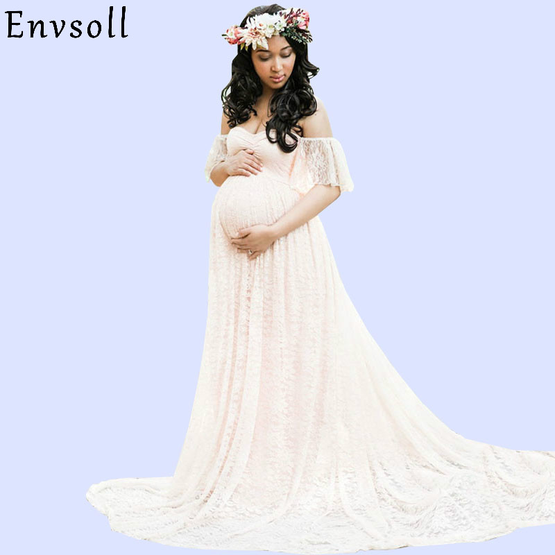 Envsoll Lace Maxi Gown Maternity Photography Props Pregnancy Dress Maternity Dresses For Photo Shoot Pregnant Women Dress smdppwdbb maternity dress maternity photography props long sleeve maternity gown dress mermaid style baby shower dress plus size