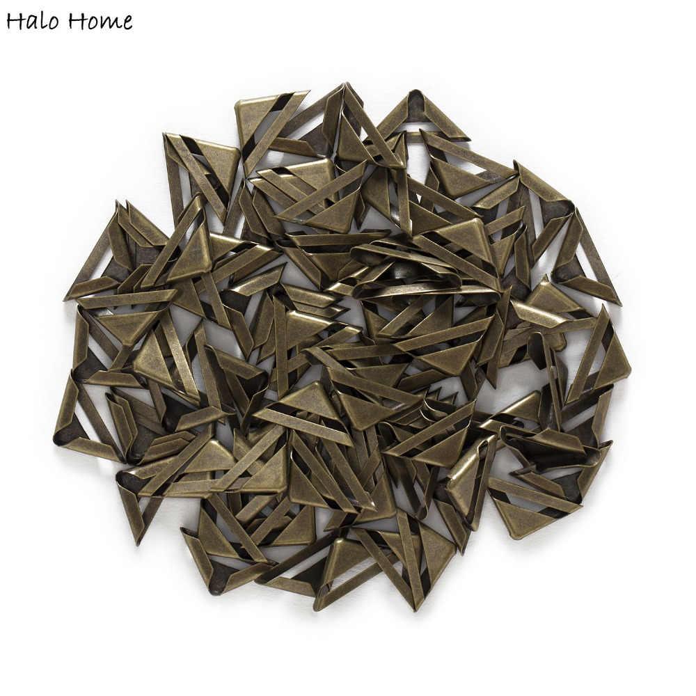 """50 pedaço de bronze antigo banhado livro oco scrapbooking metal canto protetores álbuns pastas caixa sacos 24x17mm (7/8 """"x 5/8"""")"""