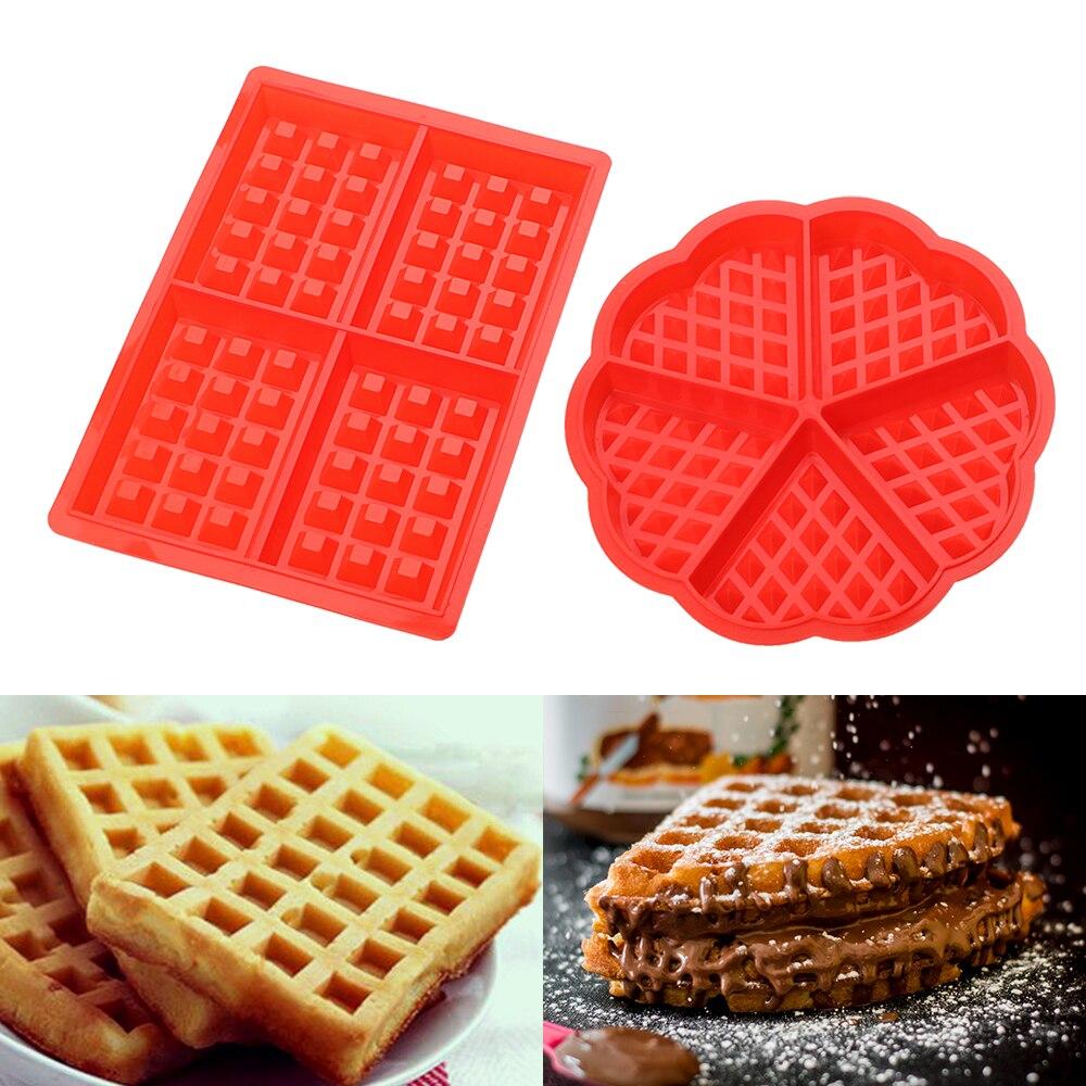Durable y seguro 1 x forma de coraz/ón molde de gofres de 5 cavidades de silicona para horno de hornear galletas pastel Muffin Herramientas de cocina Accesorios suministros #Pennytupu
