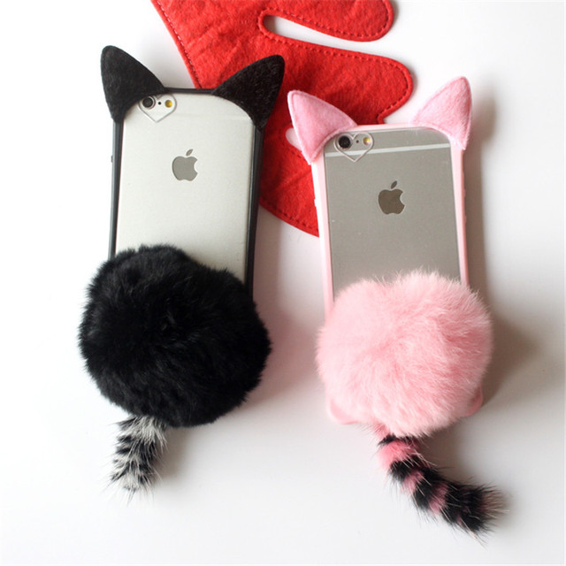 3D Cute Pussy Cat Ear Tail Soft Case Furry Back Cover Cartoon Fur Ball For iPhone5/6//7/8Plus /For Samsung S6 S7 S8 S8P J7 N8 A5