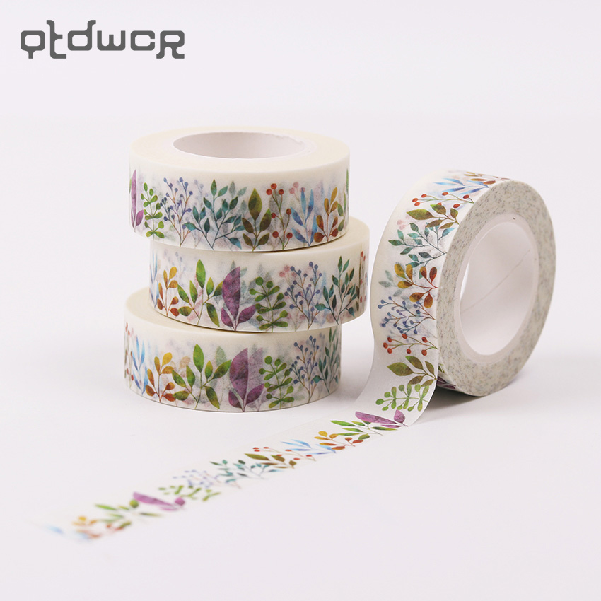 1PC 1.5cmX10m Herbaceous Plant Washi Tape DIY Decoration Adhesive Tape Scrapbooking Masking Tape Label Sticker For Child Gift