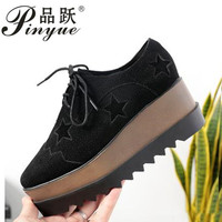 Flat Platform Shoes Women Height Increasinig Shoes Soft Leather High Quality Ladies Brand Casual Shoe Platform shoes with thick
