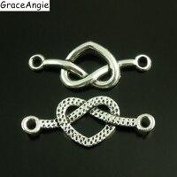 50pcs/lot Vintage Antique Silver Twist Love Heart Jewelry Charms Necklace Pendant Novelty Punk Bracelet Connector 33*13mm 38645