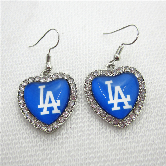6pair Lot Crystal Heart Los Angeles Dodgers Earring Us Sports Earrings Baseball Charms Jewelry