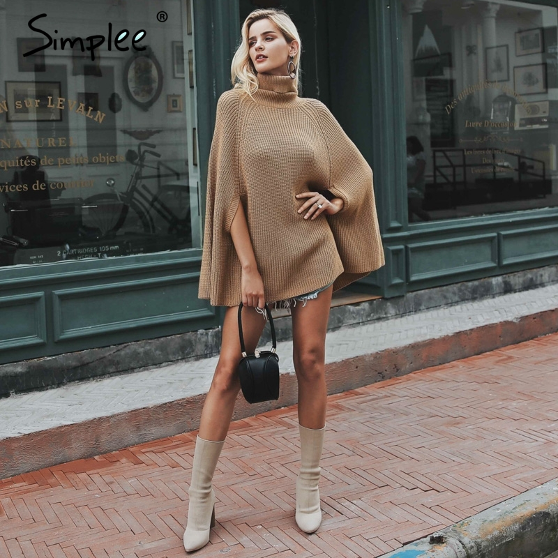 Knitted turtleneck cloak sweater 1