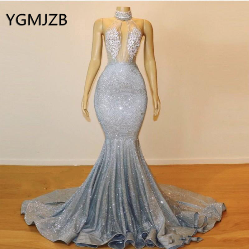 Long Sexy   Prom     Dress   2019 Mermaid Glitter Sequin Backless Halter Neck African Black Girls Arabic Formal Evening Party Gowns