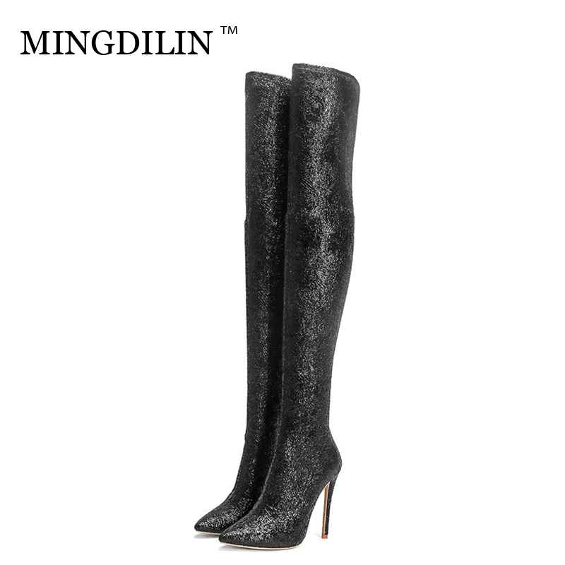 MINGDILIN Women's Over The Knee Boots Winter High Heels Black Thigh High Boots Pointed Toe Fashion Sexy Knee High Boots 2018 hot boots women sexy black thigh high boots peep toe soft leather back zip high heels over the knee boots gladiator sandal boots