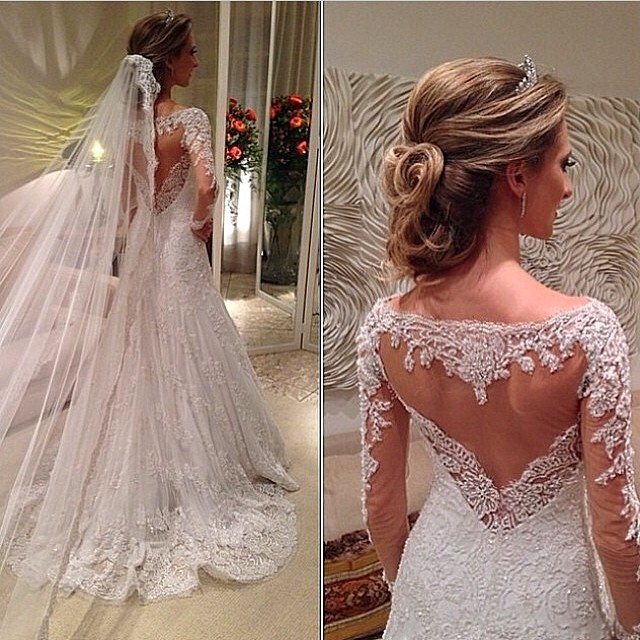 Brautkleider Glamour A Line Closed Back Scoop Appliques Beads Bride ...